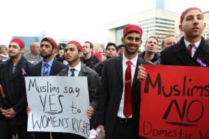 Muslim men protesting for WR