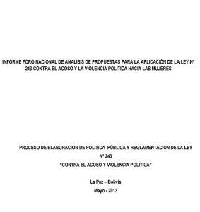 21_Informe_ForoNacional_Aplicacion_Ley_N243_BO_2013[1]-1