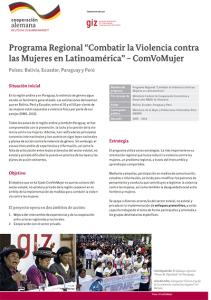 """Programa Regional """"Combatir la Violencia contra las Mujeres en"""